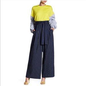 Gracia | high waisted navy stripe full leg pant